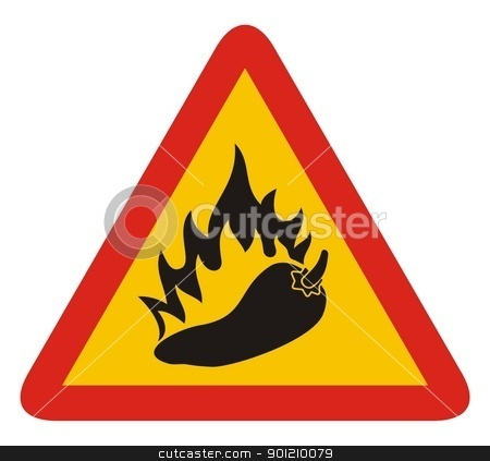 Hot pepper sign stock vector clipart, Triangle warning sign with a pepper and flame silhouette. by fractal.gr