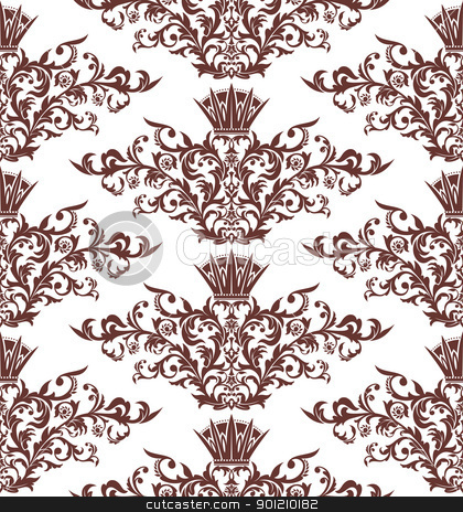 seamless vintage damask background stock vector clipart, abstract seamless vintage damask background vector illustration by SelenaMay