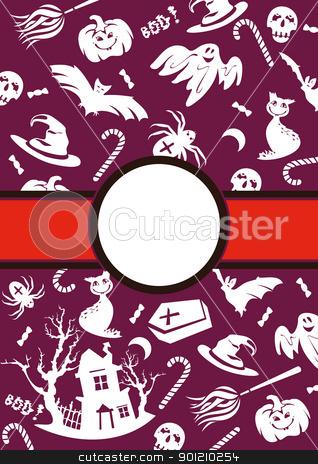 Halloween vector frame stock vector clipart, abstract cartoon cute Halloween frame vector illustration by SelenaMay