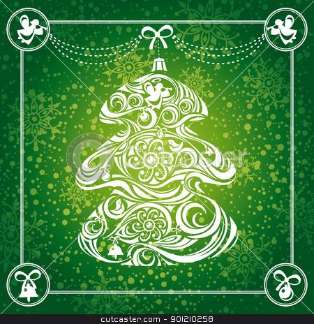 Christmas tree card stock vector clipart, abstract Christmas tree card background vector illustration by SelenaMay