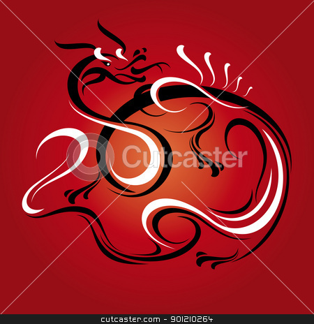 new year dragon card stock vector clipart, abstract new year dragon card vector illustration by SelenaMay