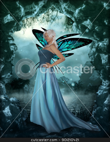 fairy stock photo, 3d render of a fairy in the forest by ancello