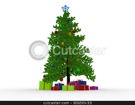 christmas tree and many gifts stock photo, christmas tree and many gifts by dacasdo
