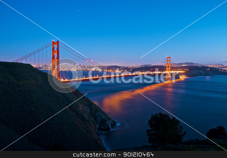 Golden Gate Bridge stock photo, Golden Gate Bridge San Francisco at Night by Sundell Larsen