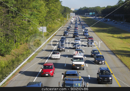 Traffic stock photo, Morning commute on a highway in the suburbs by Christian Delbert