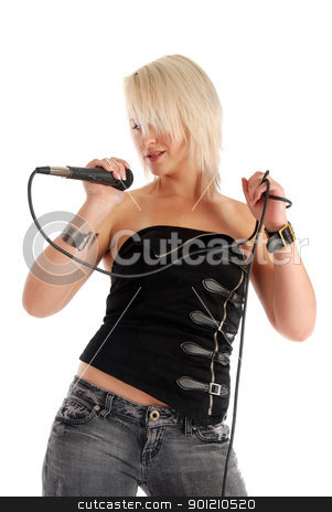 Singing Rocker Girl stock photo, Blond girl singing into a microphone on white. by Damien Richard