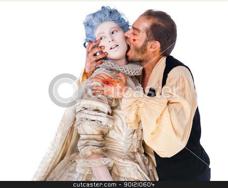 medieval vampire biting woman stock photo, Wounded male vampire biting medielal woman isolated on white background by vilevi