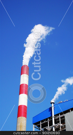 Heat power plant stock photo, High chimney with steam in a heat power plant by John Young