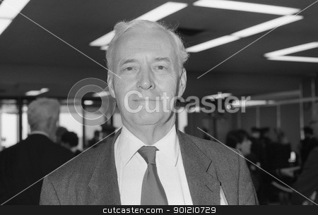Rt.Hon. Tony Benn stock photo, Rt.Hon. Tony Benn, Labour party Member of Parliament for Chesterfield and former Cabinet Minister, attends the party conference in Brighton, England on October 1, 1991. by newsfocus1