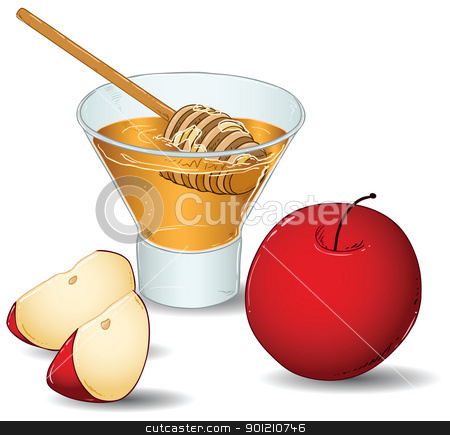 Rosh Hashanah Glass Of Honey With Apples stock vector clipart, A vector illustration of a glass filled with honey and a special honey serving spoon and an apple and two slices of apple. by Liron Peer