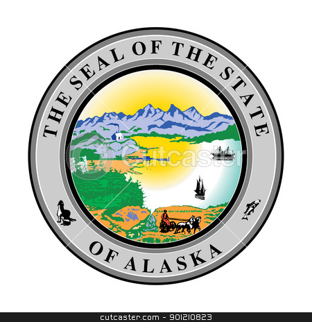 Alaska state seal stock photo, Seal of American state of Alaska; isolated on whiite background. by Martin Crowdy
