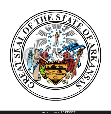 Arkansas state seal stock photo, Seal of American state of Arkansas; isolated on whiite background. by Martin Crowdy