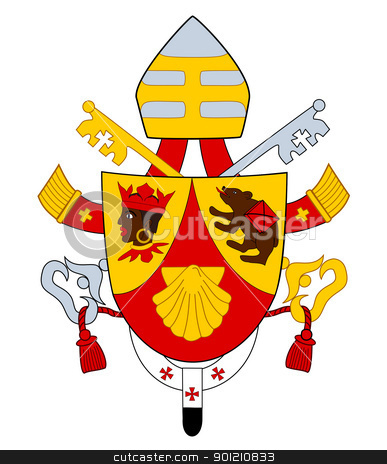 Coat of Arms of Benedict XVI stock photo, Pope Benedict XVI coat or arms; isolated on whtie background. by Martin Crowdy