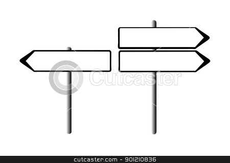 Blank road signs stock photo, Blank directional road signs with copy space; isolated on white background. by Martin Crowdy