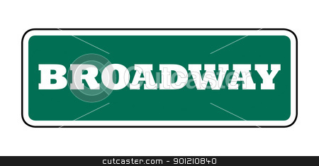 Broadway street sign stock photo, New York Broadway street sign; isolated on white background. by Martin Crowdy