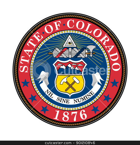 Colorado state seal stock photo, Seal of American state of Colorado; isolated on whiite background. by Martin Crowdy