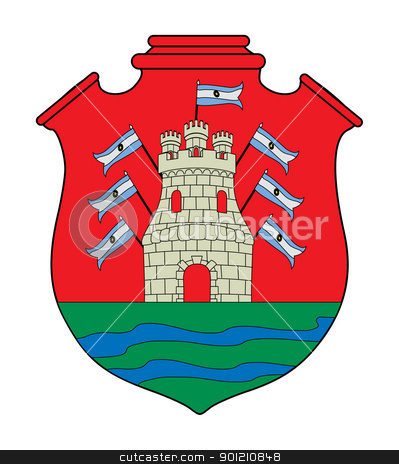 Cordoba coat of arms stock photo, Coat of arms of province of Cordoba in Argentina; isolated on white background. by Martin Crowdy