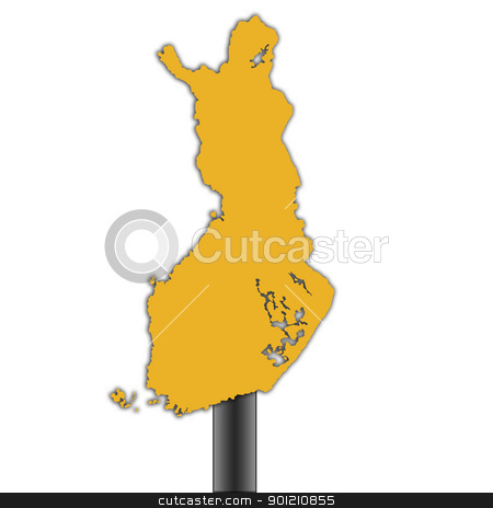 Finland map road sign stock photo, Finland map road sign isolated on a white background. by Martin Crowdy