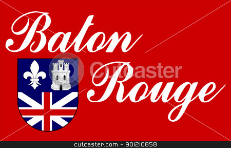 Baton Rouge flag stock photo, City flag of Baton Rouge city in the U.S.A.  by Martin Crowdy