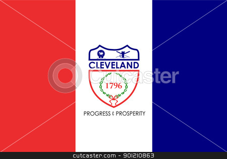 Cleveland city flag stock photo, Flag of Cleveland city, Ohio in the U.S.A  by Martin Crowdy