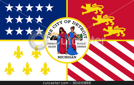 Detroit city flag stock photo, City flag of Detriot city, Michigan in the U.S.A by Martin Crowdy