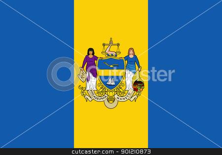 Philadelphia city flag stock photo, Flag of Philadelphia city in the U.S.A  by Martin Crowdy