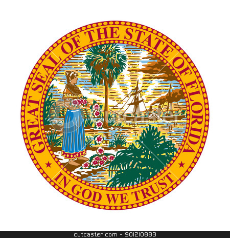 Florida state seal stock photo, Seal of American state of Florida; isolated on whiite background. by Martin Crowdy