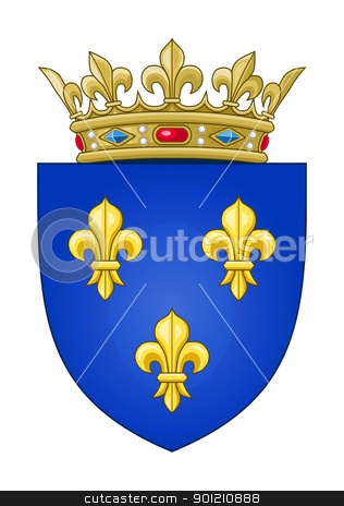 French coat of Arms stock photo, Heralid French coat of arms; isolated on white background. by Martin Crowdy