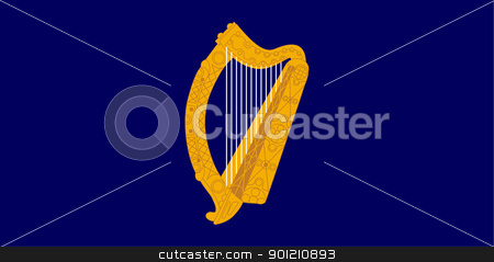 Gold harp on Ireland flag stock photo, Golden harp on Irish or Ireland presidential flag. by Martin Crowdy
