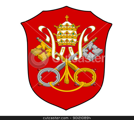 Holy See coat of arms stock photo, Roman catholic Holy See coat of arms; isolated on white background. by Martin Crowdy