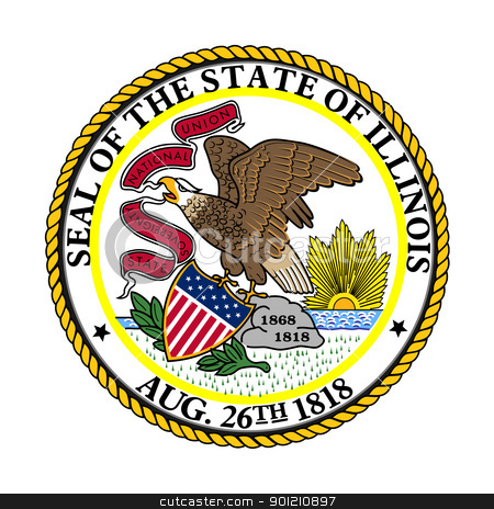 Illinois state seal stock photo, Seal of American state of Illinois; isolated on whiite background. by Martin Crowdy