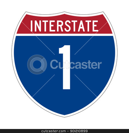 Interstate Highway 1 sign stock photo, American Interstate Highway one sign or shield; isolated on white background. by Martin Crowdy