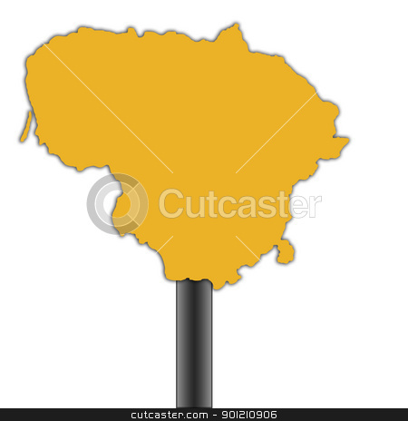 Lithuania map road sign stock photo, Lithuania map road sign isolated on a white background by Martin Crowdy