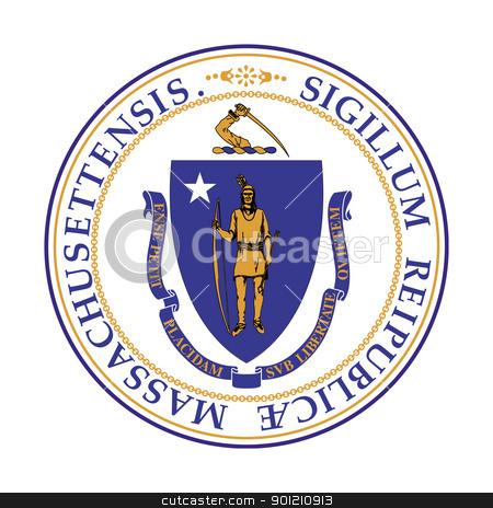 Massachusetts state seal stock photo, Seal of American state of Massachusetts; isolated on whiite background. by Martin Crowdy