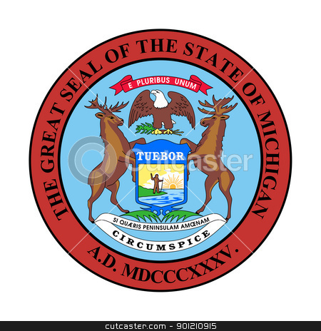 Michigan state seal stock photo, Seal of American state of Michigan; isolated on whiite background. by Martin Crowdy