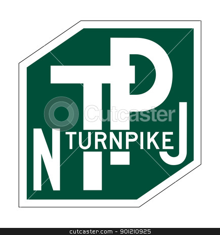 New Jersey Turnpike sign stock photo, New Jersey Turnpike sign of shield isolated on white background. by Martin Crowdy