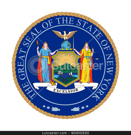 New York State Great Seal stock photo, Seal of American state of New York; isolated on whiite background. by Martin Crowdy