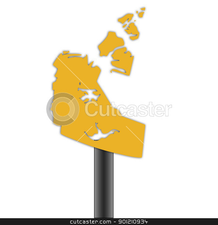 Northwest Territories map road sign stock photo, Northwest Territories in Canada map road sign isolated on a white background. by Martin Crowdy