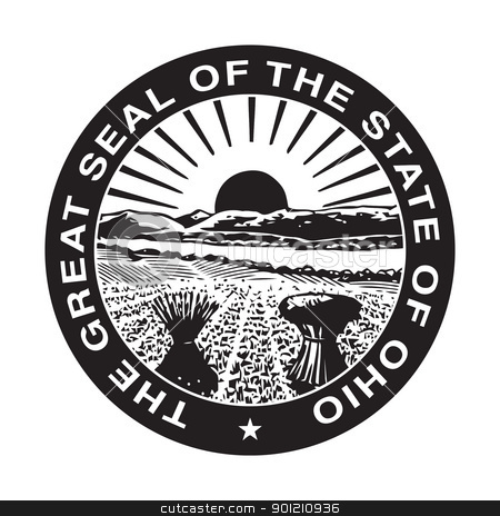 Ohio state seal stock photo, Seal of American state of Ohio; isolated on whiite background. by Martin Crowdy