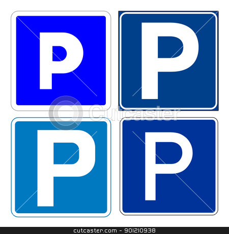 Set of parking signs stock photo, Set of parking signs; isolated on white background. by Martin Crowdy
