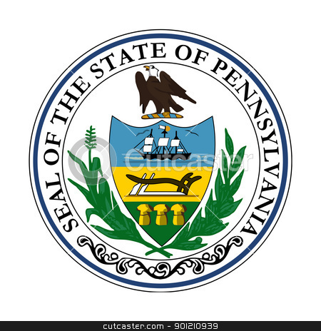 Pennsylvania state seal stock photo, Seal of American state of Pennsylvania; isolated on whiite background.S by Martin Crowdy