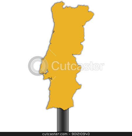 Portugal map road sign stock photo, Portugal map road sign isolated on white background by Martin Crowdy