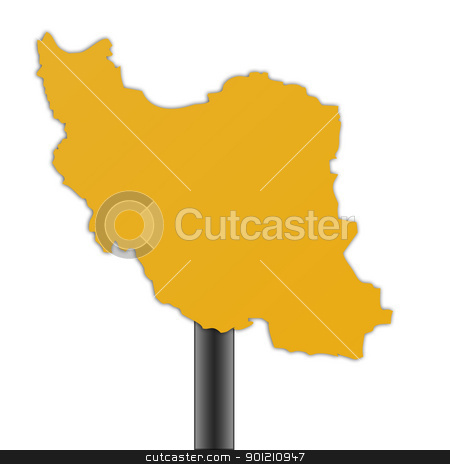 Iran map road sign stock photo, Iran map road sign isolated on a white background. by Martin Crowdy
