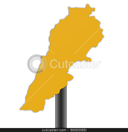 Lebanon map road sign stock photo, Lebanon map road sign isolated on a white background. by Martin Crowdy