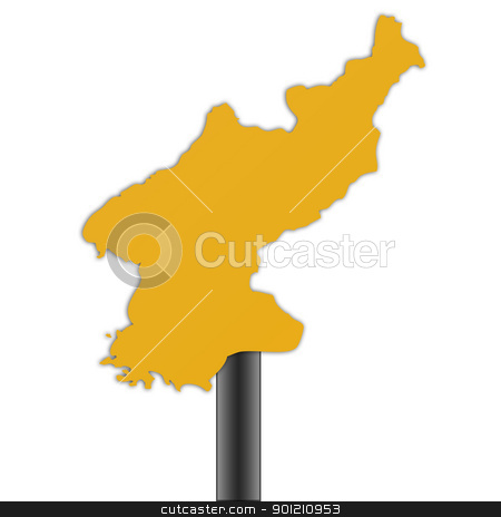 North Korea map road sign stock photo, North Korea map road sign isolated on a white background. by Martin Crowdy