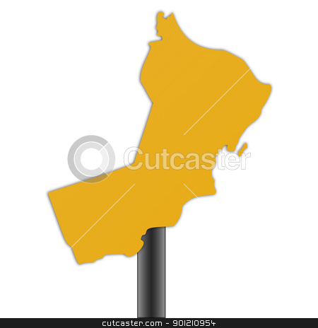 Oman map road sign stock photo, Oman map road sign isolated on a white background. by Martin Crowdy