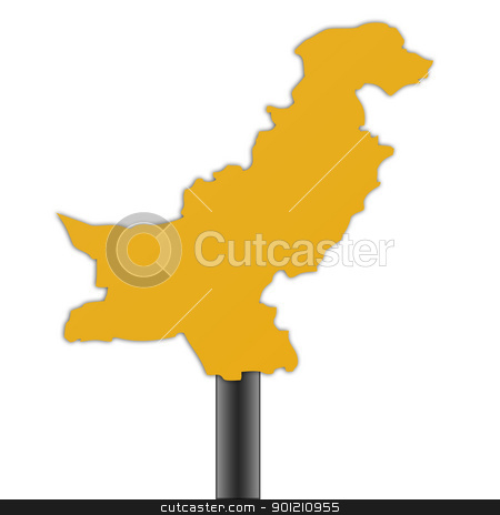 Pakistan map road sign stock photo, Pakistan map road sign isolated on a white background. by Martin Crowdy