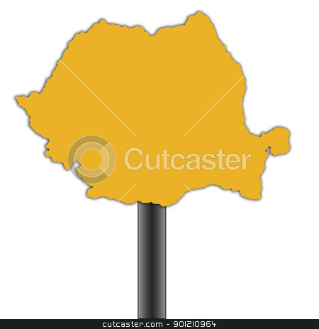 Romania map road sign stock photo, Romania map road sign isolated on a white background. by Martin Crowdy