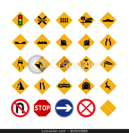 Traffic signs and symbols stock photo, Illustrated set of amber traffic signs; isolated on white background by Martin Crowdy