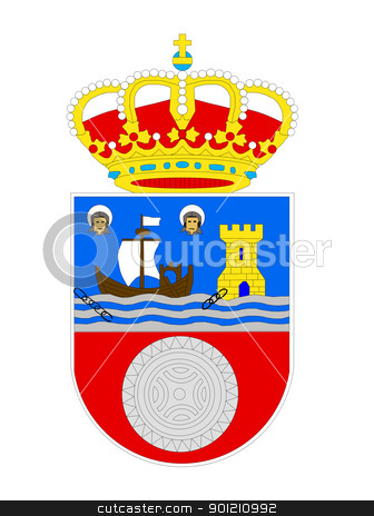 Spanish Cantabria coat of arms stock photo, Spanish province of Cantabria coat of arms; isolated on white background. by Martin Crowdy